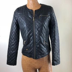 Zara Faux Leather Cropped Quilted Jacket